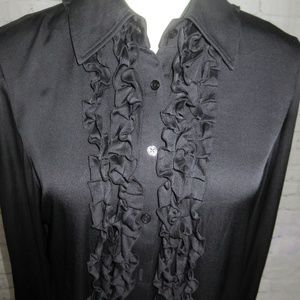 Elie Tahari Black Silk Long Sleeve Blouse